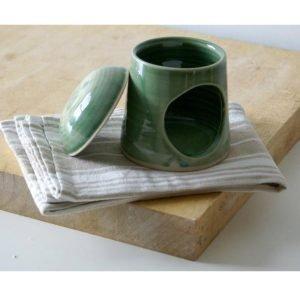 Handmade Pottery Oil Burner green